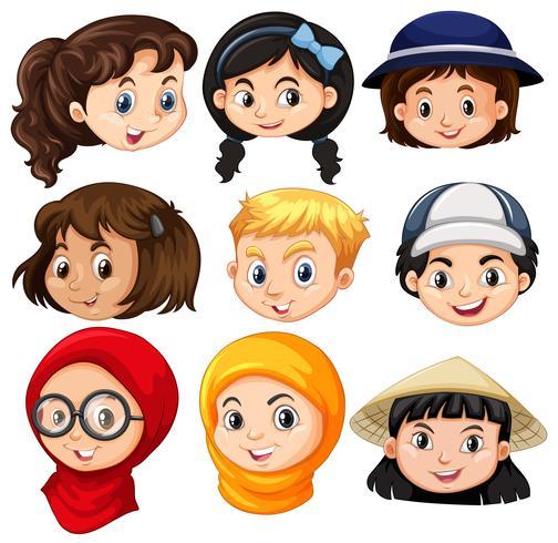 Différents visages d'enfants