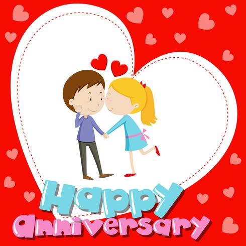 Anniverary card template with love couple kissing