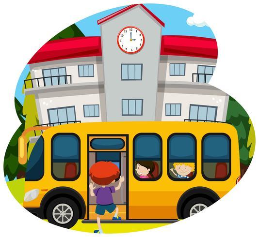 Skolbuss hämtar elev till skolan