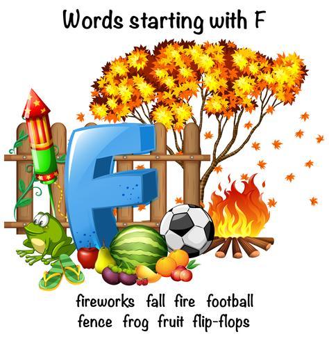 Pädagogisches Plakatdesign für Wörter, die mit F beginnen