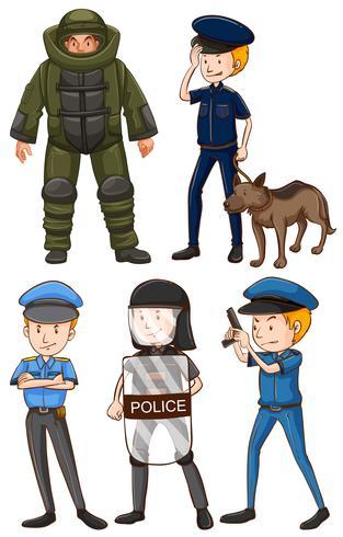 Policier en différents uniformes vecteur