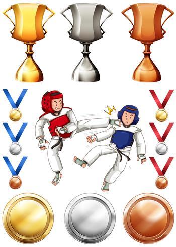 Taekwondo et de nombreux trophées et médailles