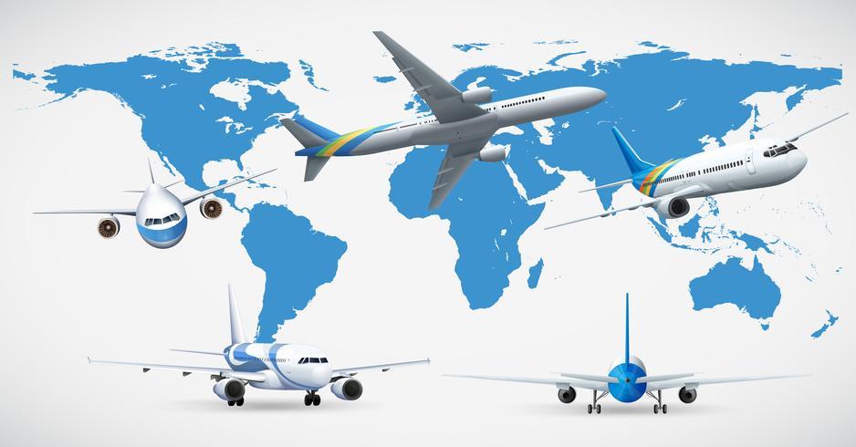 Fem flygplan och blå karta