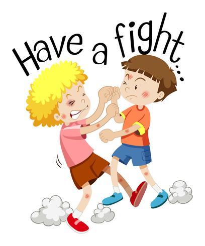 Dois meninos brigando com a frase têm uma briga