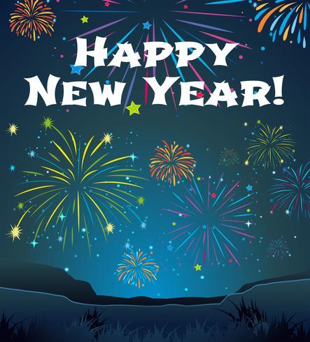 Modelo de cartão para o ano novo com fundo de fogo de artifício