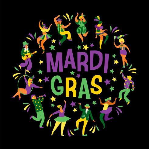 Mardi Gras. Vector illustration of funny dancing men and women in bright costumes