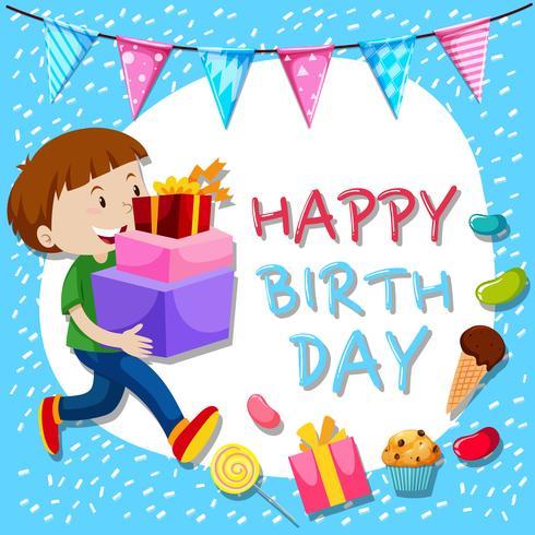 Modelo de cartão de aniversário com menino e presentes