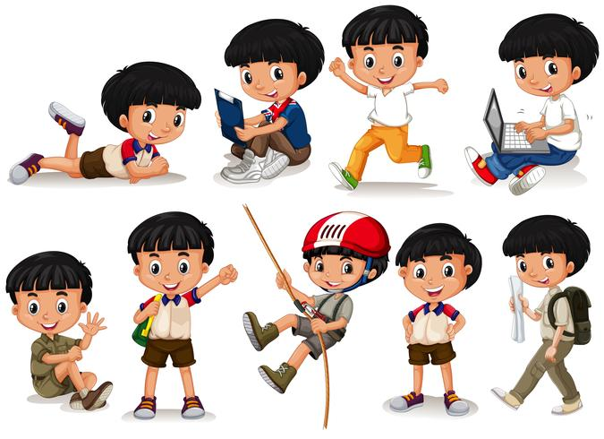 Boy doing different actions vector