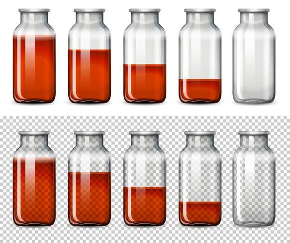 Ensemble de liquide rouge en bouteille