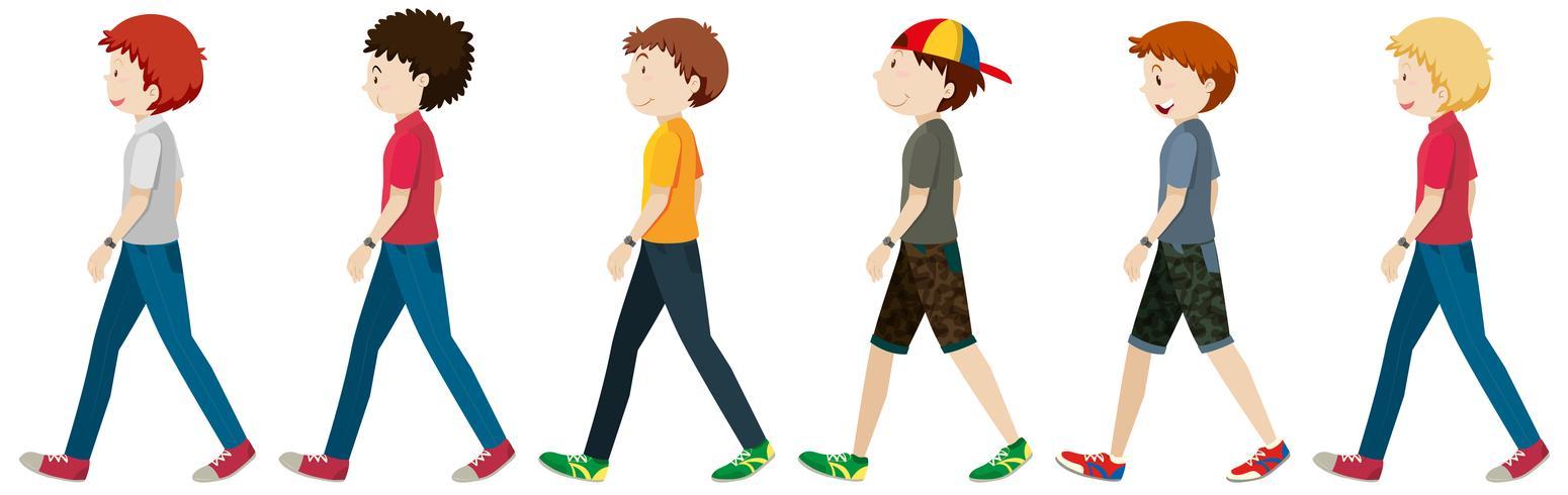 Tiener mannen die op witte achtergrond lopen