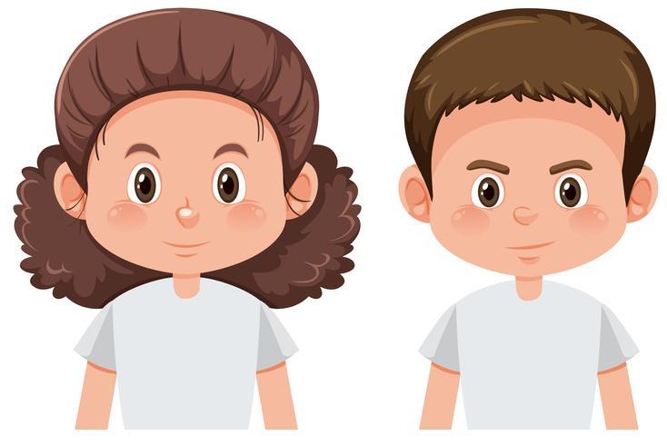 Set van brunette mannelijke en vrouwelijke personage