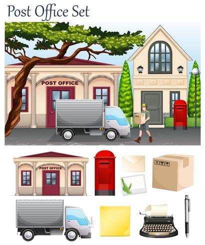 Ufficio postale e oggetti postali vettore