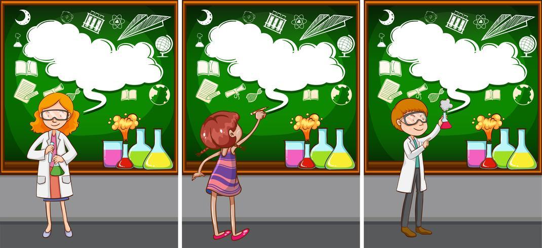 Professores de ciências na sala de aula