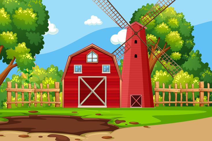 Cena de fazenda com celeiro vermelho vetor