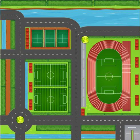 Sporting complex aerial view vector