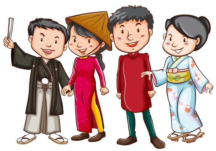 Aziatische mensen in traditionele kostuums