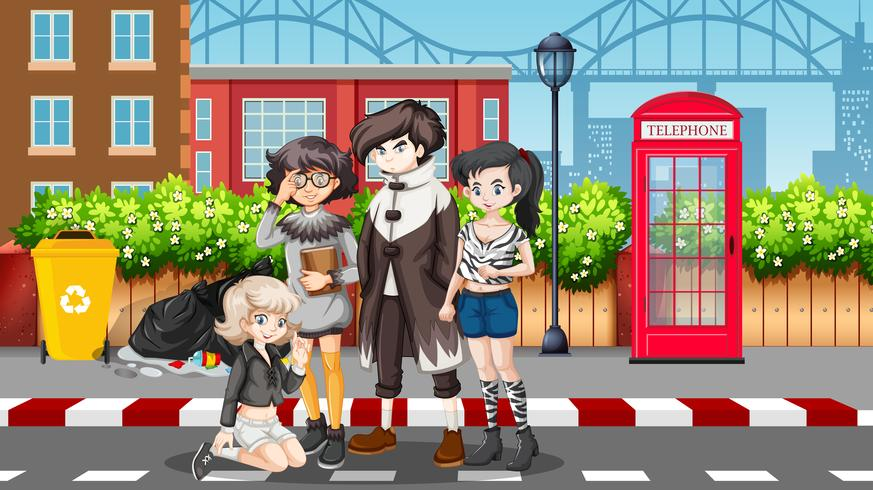 Group of teenagers in street scene - Download Free Vector Art, Stock Graphics & Images