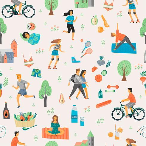 Hälsosam livsstil. Sömlöst mönster.