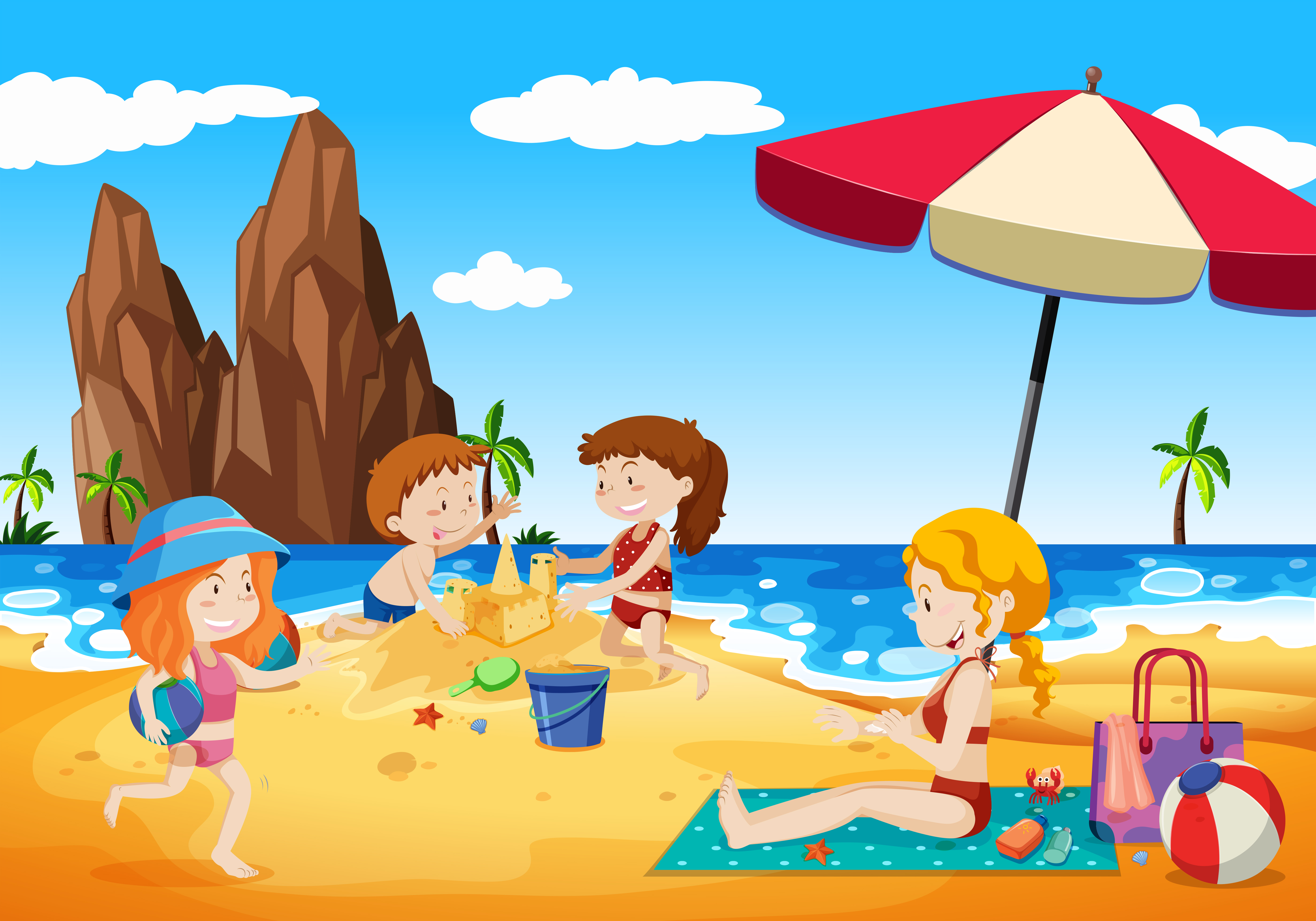 Family Playing next to the Beach - Download Free Vectors ...
