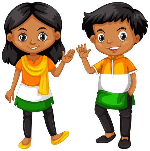 Niño y niña de la India agitando las manos.