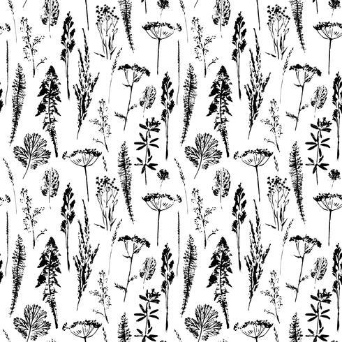 Abstrakt botaniskt sömlöst mönster. Vektor växtbaserad bakgrund.
