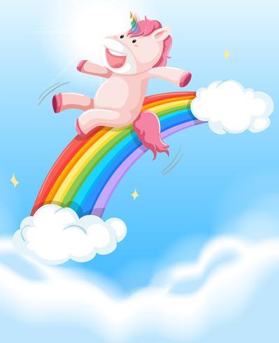 Happy unicorn on the sky