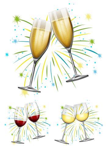 Bicchieri di vino e bicchieri di champagne