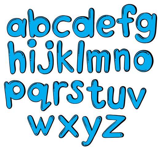 Letters van het alfabet in blauwe kleur