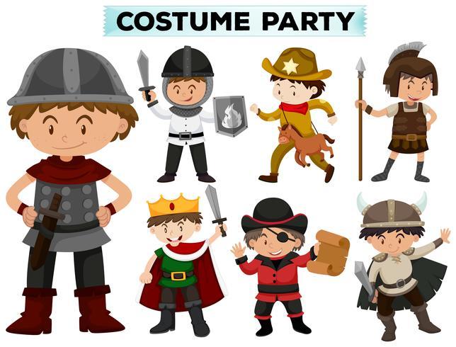 Kostümparty mit Jungen in verschiedenen Kostümen