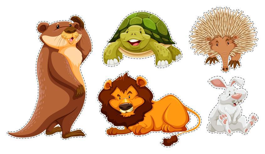 Set di adesivi di molti animali selvatici
