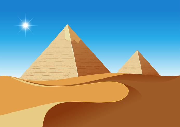Um deserto com pirâmides