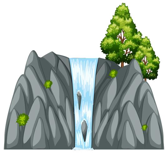 Scène de la cascade avec arbre sur le rocher