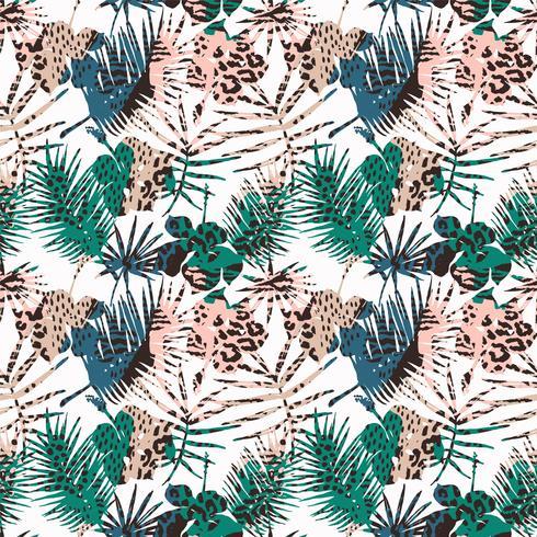 Sem costura padrão exótico com folhas tropicais.