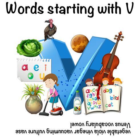 Arbeitsblatt für Wörter, die mit V beginnen