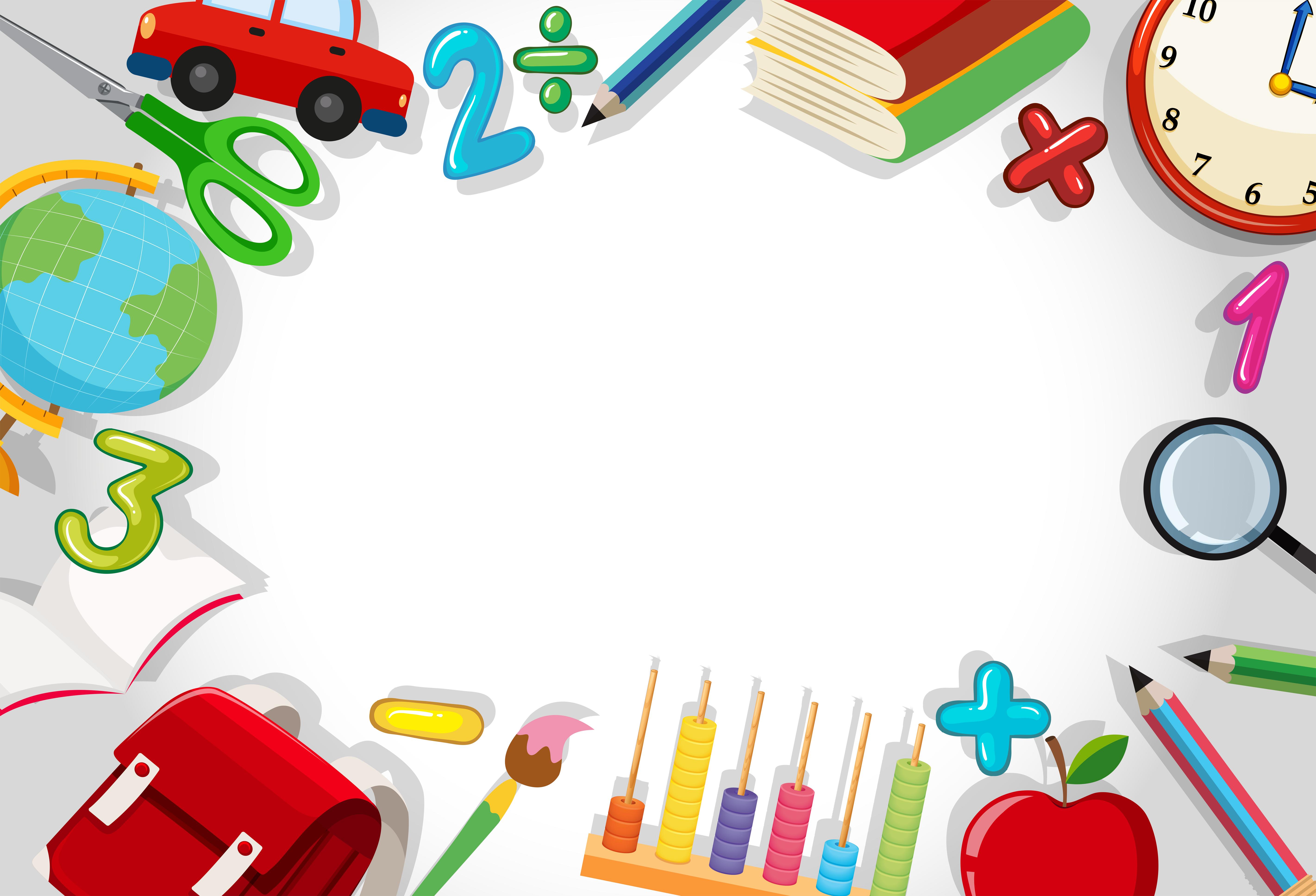 Uma fronteira de papelaria escolar - Download Vetores ...