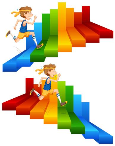Een man die op kleurrijke trap loopt