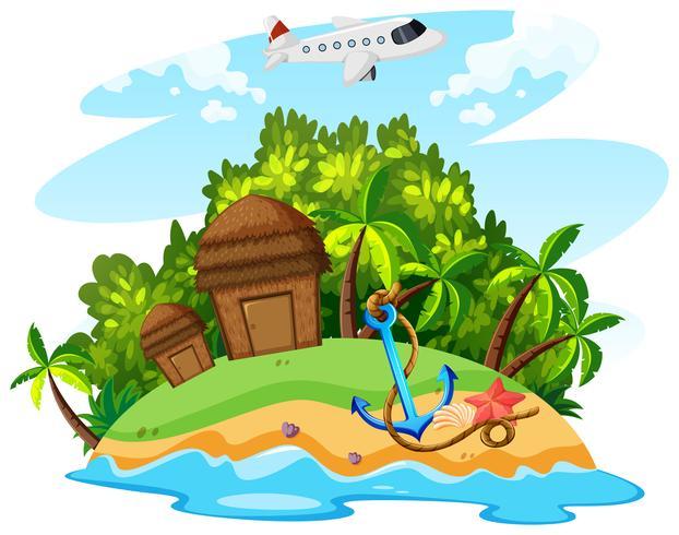 Tema de verão com avião e ilha
