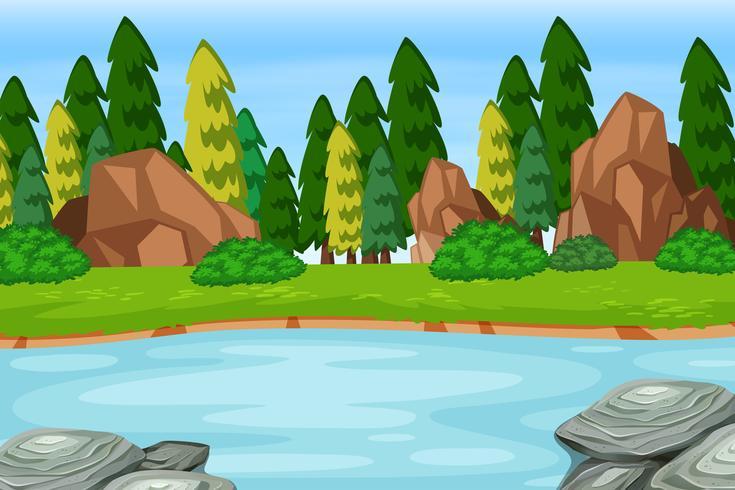 Outdoor woods lake scene - Download Free Vector Art, Stock Graphics & Images