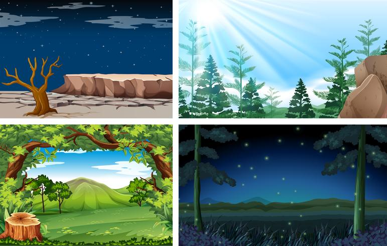 Quatro natureza diferente dia e noite cena