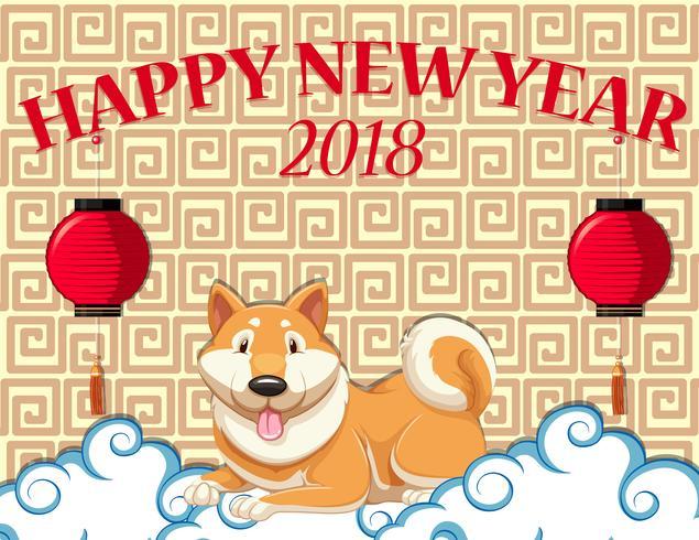Guten Rutsch ins Neue Jahr-Karte mit nettem Hund auf Wolke