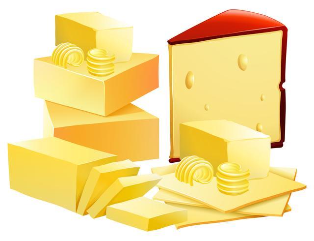 Un conjunto de queso sobre fondo blanco