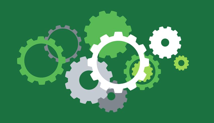 Background template with gears on green