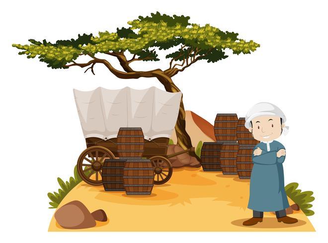 Arab man står vid vagnen