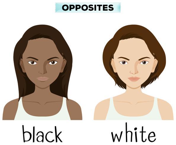 Opposite words for black and white