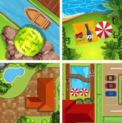 Vue aérienne de différentes scènes de parcs