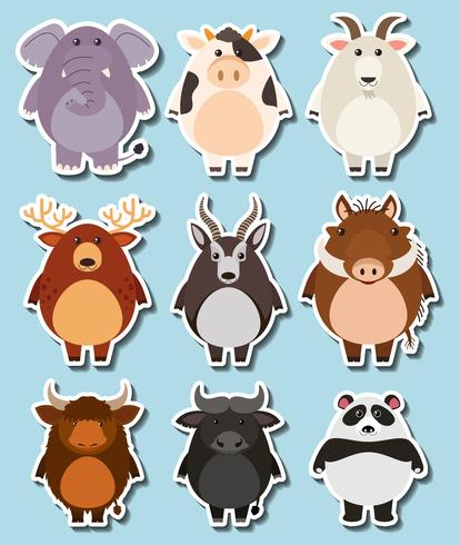 Sticker set with many wildlife on blue background vector