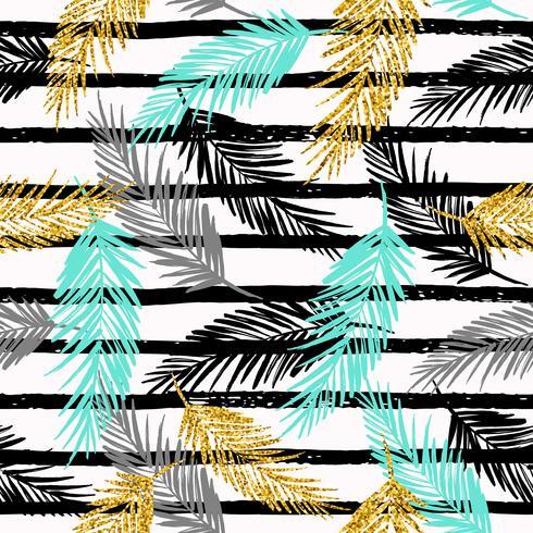 Sin fisuras patrón exótico con siluetas de hoja de palma.
