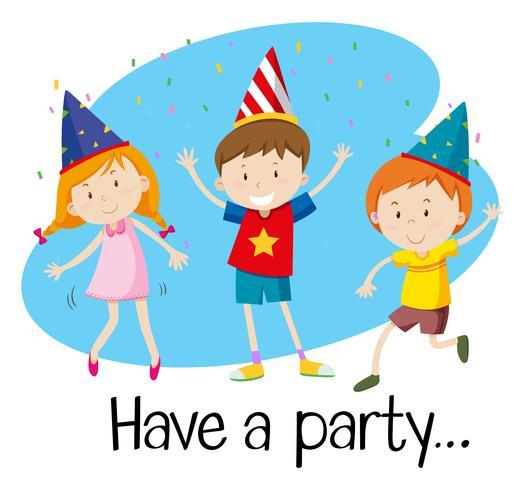 Drei Kinder haben eine Party