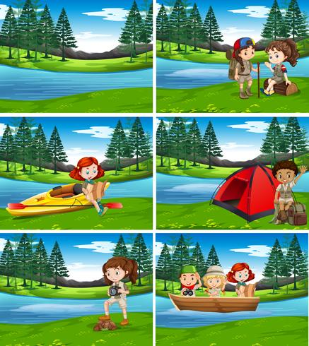 Camping kids in the nature - Download Free Vector Art, Stock Graphics & Images