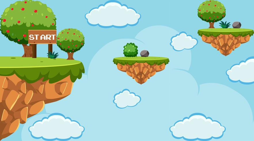 Jumping Game Template on the Sky vector